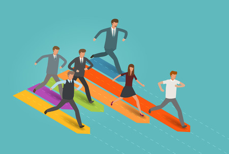 Businessman and group of business people running to the goal Infographics vector illustration Illustration