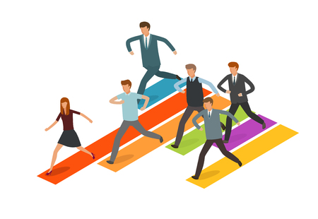 Education concept. Group of business people or students running to the goal. Infographics vector illustration