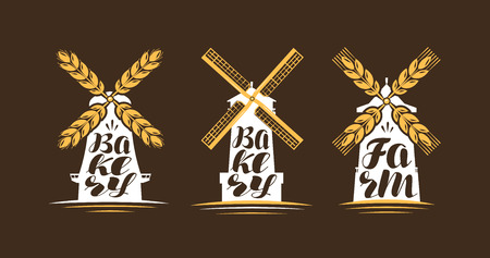 Farm, bakery logo or label. Windmill, mill icon. Lettering, calligraphy vector illustration Illustration