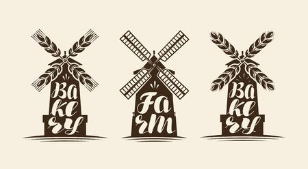 Mill, icona del mulino a vento. Fattoria, panificio serie di etichette o loghi. Scritte a mano, illustrazione vettoriale di calligrafia