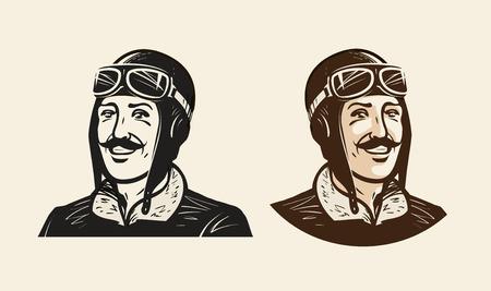 Portrait of smiling pilot or racer. Vintage sketch vector illustration
