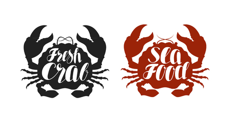pincers: Crab logo or label. Food, seafood icon. Lettering, calligraphy vector illustration