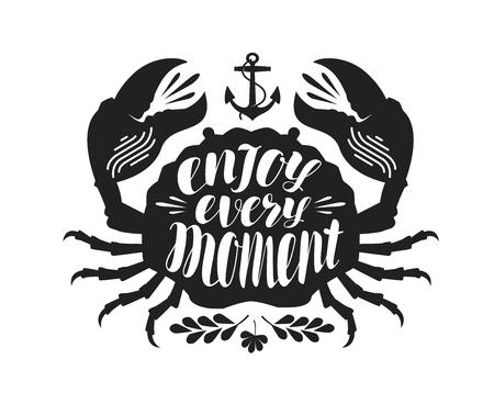 Crab typographic design. Illustration