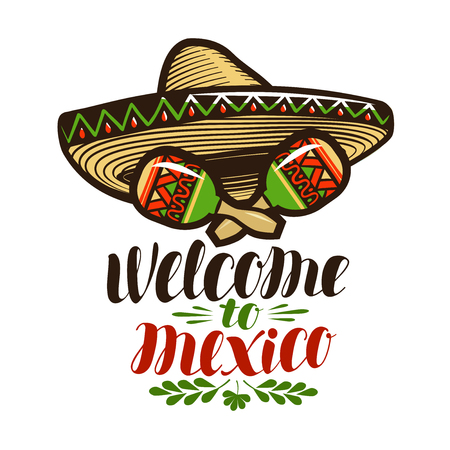 Welcome to Mexico, banner. Sombrero and maracas icon. Illustration