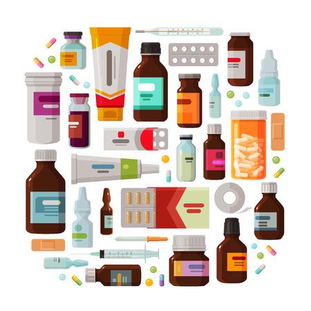 medical doctors: Medicine, pharmacy concept. Drug, medication set of icons. Vector illustration