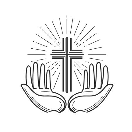 教会、宗教のロゴ。聖書、十字架、クロス、祈りアイコンまたはシンボル。直線的なデザイン、ベクトル イラスト