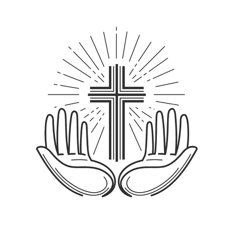 교회, 종교 로고입니다. 성경, 십자가, 십자가,기도 아이콘 또는 기호. 선형 디자인, 벡터 일러스트 레이션 일러스트