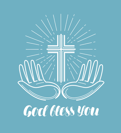 God bless you, handwritten lettering. Church, religion concept. Calligraphy vector illustration