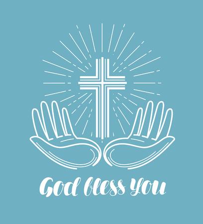 God bless you, handwritten lettering. Church, religion concept. Calligraphy vector illustration