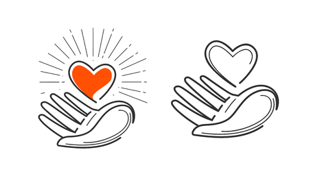 affection: Charity, life, love, health logo. Heart in hand icon or symbol. Vector illustration