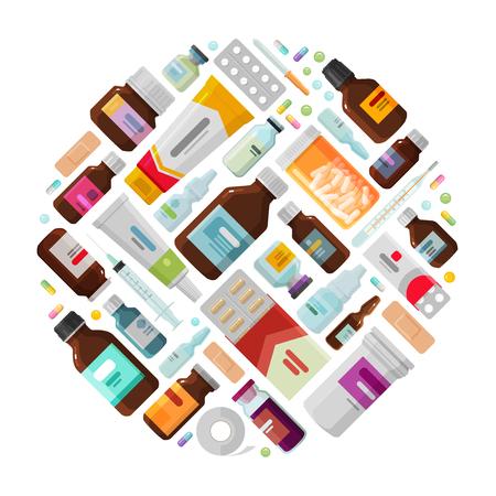 dispensary: Medicine concept. Drug, medication, bottles and pills icons. Vector illustration Illustration