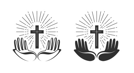 Religion concept. Bible, church, faith, pray icon or symbol. Vector illustration Illusztráció
