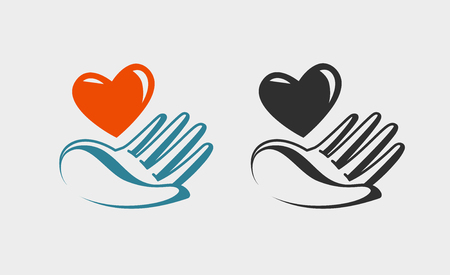 Hand holding red heart, icon or symbol. Love, charity, health, donation logo. Vector label
