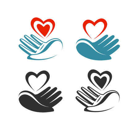 Health, donation, charity logo or label. Hand holding heart, symbol. Vector illustration Vectores