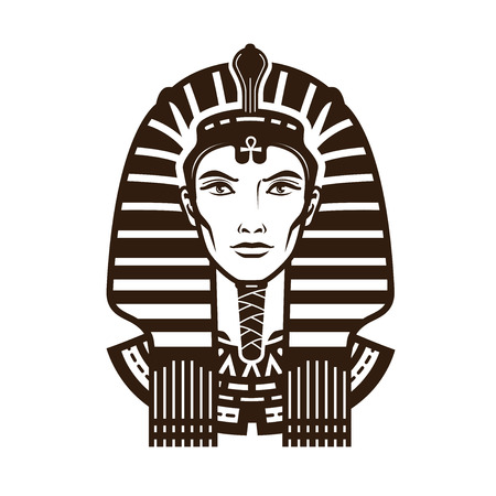 Portrait of pharaoh. Africa, Egypt, egyptian logo or symbol. Vintage vector illustration Ilustrace