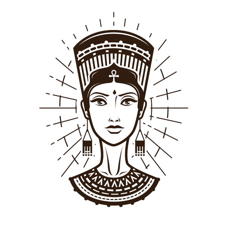 Portrait of beautiful young woman, girl in ethnic outfit. Egypt, Africa logo or label. Vintage vector illustration