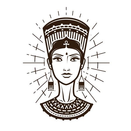 Retrato de mujer joven y hermosa, niña en traje étnico. Egipto, logo o etiqueta de África. Ilustración vectorial de la vendimia