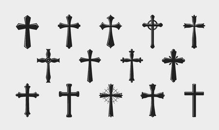 크로스 로고. 종교, 십자가, 교회, 중세 코트의 팔 아이콘 또는 기호. 벡터 일러스트 레이 션