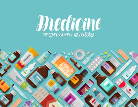 Drug bottles and pills icons. Illustration