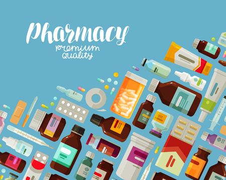 Medicine, bottles and pills concept. Stock Vector - 84195227