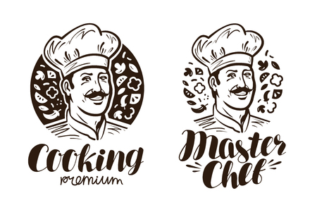 happy people: Portrait of happy chef logo or label. Cooking, cuisine icon. Vintage vector illustration