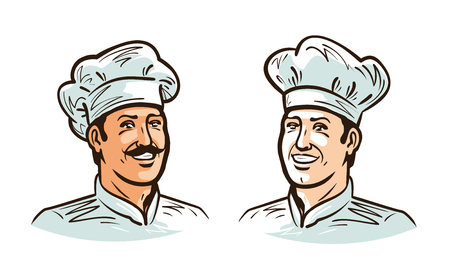 Portrait of happy smiling chef, cook or baker in hat.