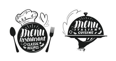Catering, canteen concept. Illustration for design menu restaurant or cafe. Lettering, calligraphy vector illustration