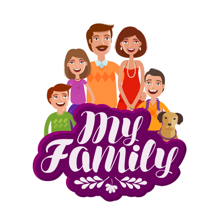 A Happy family concept for banner design. Parents and children. Cartoon vector illustration isolated on white background