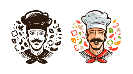 Portrait of happy chef, cook. Cuisine, cooking logo or label. Cartoon vector illustration