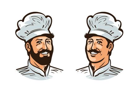 Happy cook, chef logo or label. Illustration for design menu restaurant or cafe. Cartoon vector