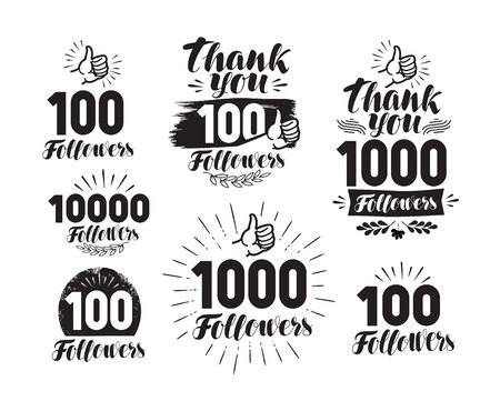 numbers: Followers, label or icon. Set of web icons for social network. Lettering vector illustration Illustration