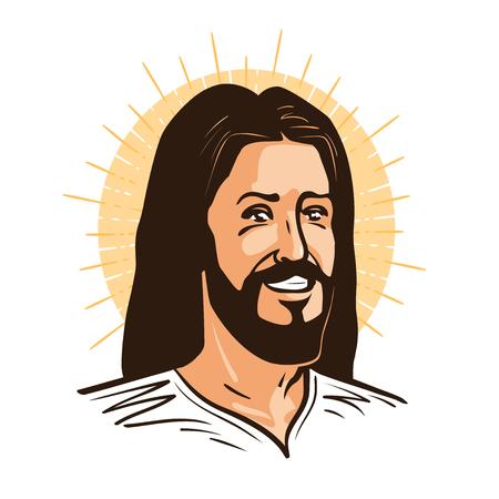 Portrait of happy Jesus Christ. Messiah, God symbol Christianity. Cartoon vector illustration Illustration