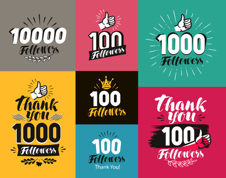 solemn: Thank you, followers banner. Network, subscribe label or icon. Handwritten lettering vector