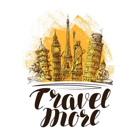 Travel, journey banner. Famous world landmarks. Sketch vector illustration