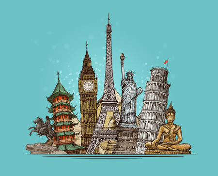 Travel, journey concept. Famous world landmarks. Sketch vector illustration