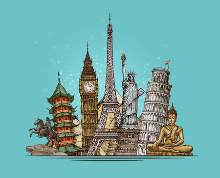 city building: Travel, journey concept. Famous world landmarks. Sketch vector illustration