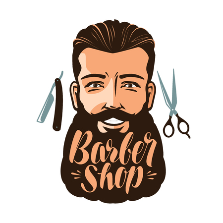 shaver: Barbershop logo or label. Portrait of happy man with beard, hipster. Lettering vector illustration Illustration