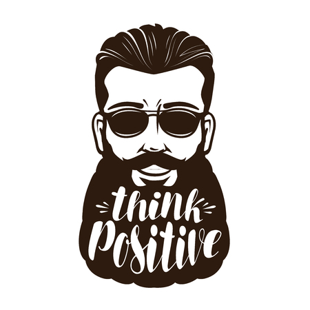 Portrait of happy bearded man or hipster. Think positive, lettering vector illustration