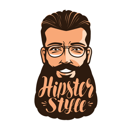 Hipster style, lettering. Portrait of happy bearded man. Calligraphy vector illustration Illustration