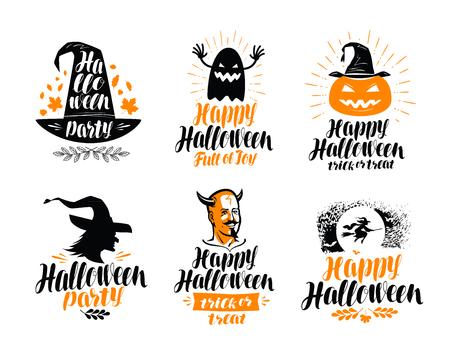 Happy Halloween, lettering. Holiday, greeting card label or logo. Vector illustration