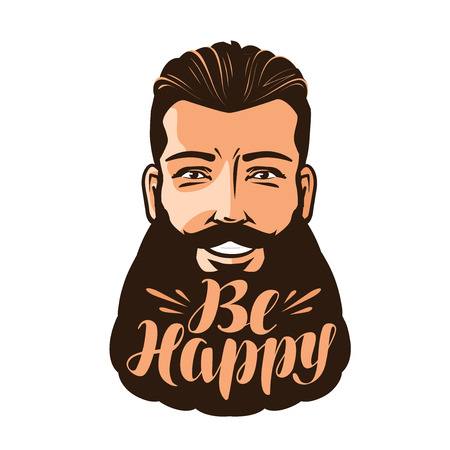 Be happy, lettering. Portrait of bearded man. Vector illustration Illustration