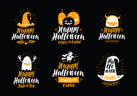 Happy Halloween, greeting card. Holiday symbol or label. Lettering vector illustration Ilustração