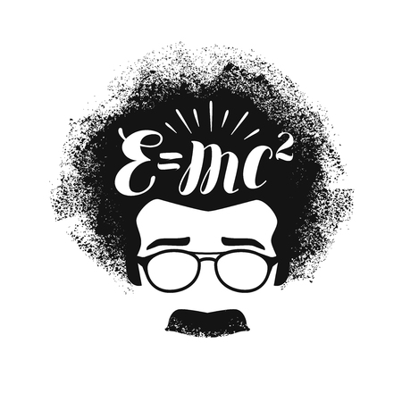 Portrait of Albert Einstein. Education, science, school concept. Lettering vector illustration Çizim