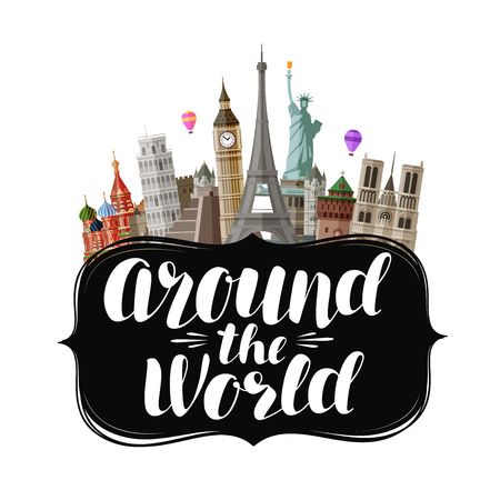 Travel, journey concept. Around the world, lettering. Vector illustration