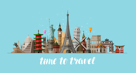 Travel, journey concept. Famous sights countries of world. Vector illustration Illustration