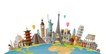 Viajes, concepto de viaje. Monumentos famosos de países del mundo. Ilustración vectorial