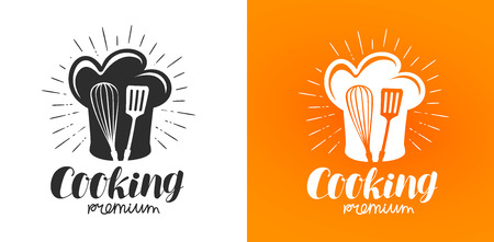 Cooking logo or label. Cuisine, kitchen icon. Lettering vector illustration Иллюстрация
