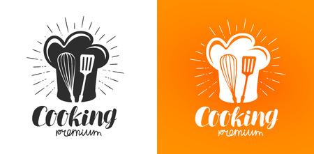 Cooking logo or label. Cuisine, kitchen icon. Lettering vector illustration Stock Illustratie