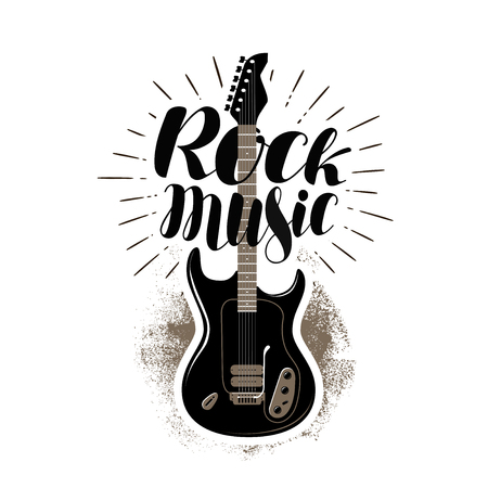 melomaniac: Rock music, lettering. Guitar, fretboard label. Vector illustration