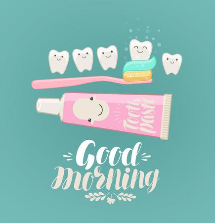 Goede morgen banner. Tandenpoetsen, hygiëne, tandpasta, tandenborstelconcept. Cartoon vectorillustratie Stock Illustratie